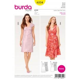 Patron Robe à bretelles robe fourreau tailles intermédiaires courtes Burda N°6554