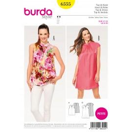 Patron Femme Top robe fluide col droit tailles intermédiaires courtes Burda N°6555