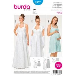 Patron Robe de grossesse robe de mariée dos nu boléro Burda N°6557