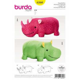 Stuffed Animals Hippo Rhino XXL-Stuffed Animal Burda Sewing Pattern N°6560