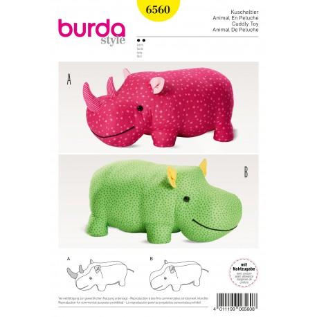 Patron Peluches hippopotame rhinocéros animal en peluche XXL Burda N°6560