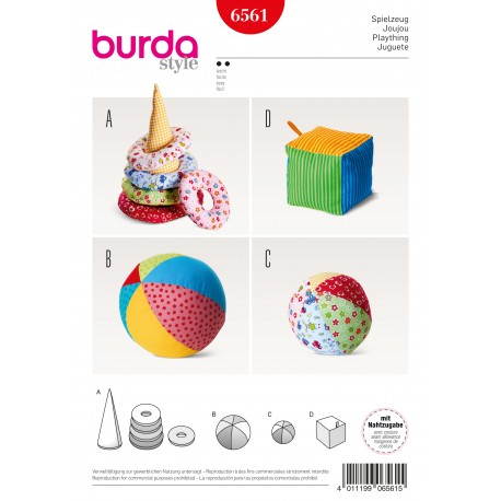 Toys Cone with Rings Ball Dice Burda Sewing Pattern N°6561