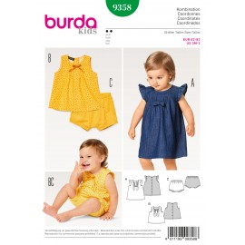 Dress Pinafore Blouse Panties Pin Tucks Back Button Fastening Burda Sewing Pattern N°9358