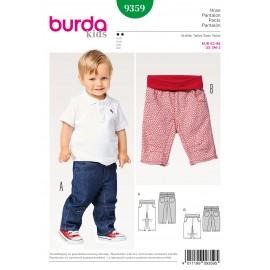 Patron Pantalon poches sur empiècements de hanche latéraux ceinture élastique Burda N°9359