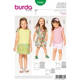 Patron Robe blouse jupe froncée parements Burda N°9360