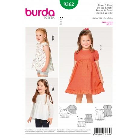 Patron Blouse robe fluide jupe froncée volant d'ourlet Burda N°9362