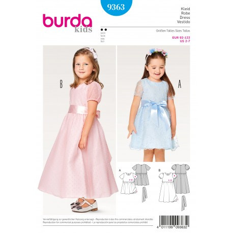 Dress Two-Layered Festive Puff Sleeves Burda Sewing Pattern N°9363