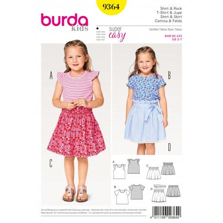 Shirt Cap Sleeves Skirt Elastic Casing Hem Frill Burda Sewing Pattern N°9364