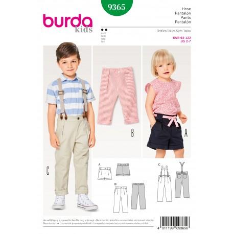 Patron Pantalon à pinces avec une coulisse élastiquée dans la ceinture bretelles short Burda N°9365