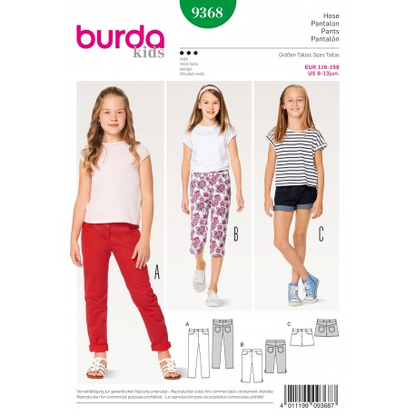 Patron Enfant Pantalon jean short pantalon 3/4 Burda N°9368