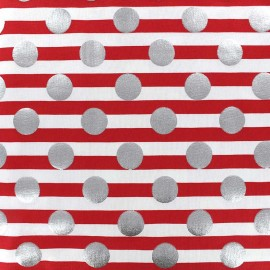 Tissu jersey rayures Silvery dot - rouge x 10cm