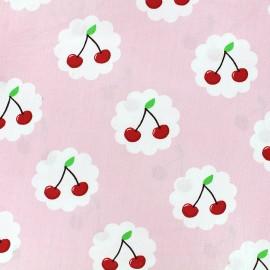 Tissu coton Cherry - rose x 10cm