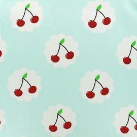 Tissu coton Cherry - bleu clair x 10cm
