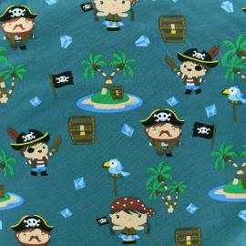 Tissu jersey Happy Pirates - bleu vert x 18cm