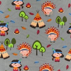 Tissu jersey Little Indian - gris x 18cm