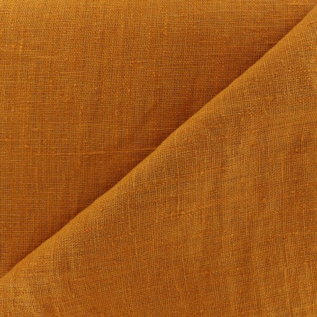 Thevenon washed Linen Fabric - orange marmelade  x 10cm