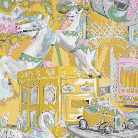 Tissu toile coton Cheval de bois - moutarde / vert x 63cm