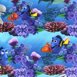 Tissu jersey Nemo et Dory - bleu x 24cm