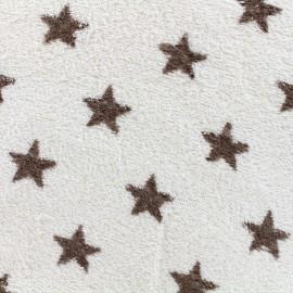 Tissu éponge Etoiles - marronjavascript:hideOtherLanguage(1);/crème x 10cm