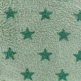 Tissu éponge Etoiles - vert/vert sauge x 10cm