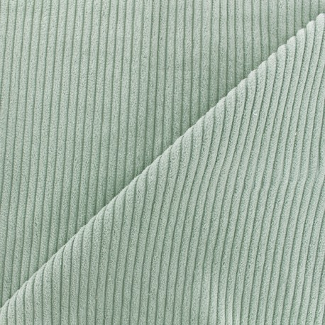 Tissu velours grosses côtes - vert sauge x10cm