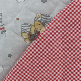 Tissu matelassé Copains calins - gris x 20cm
