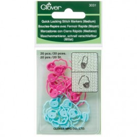Quick locking stitch marker 20 pieces medium Clover
