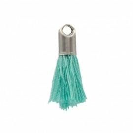 Pompon avec embout métal 20 mm - turquoise