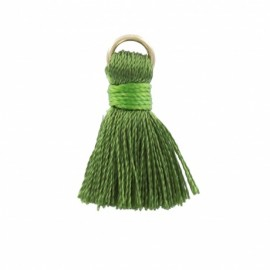 Rayon pompom with ring 20 mm - green
