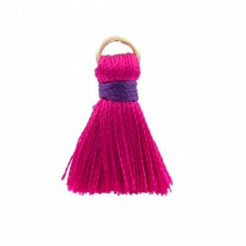 Rayon pompom with ring 20 mm - fuchsia/ purple