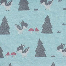 Tissu molleton sweat bambi - turquoise x 10cm