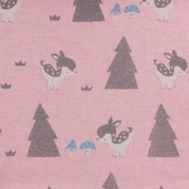 Tissu molleton sweat bambi - rose x 10cm