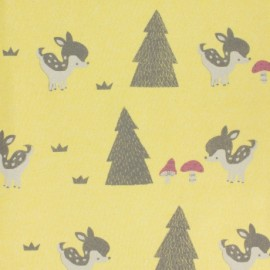 Tissu molleton sweat bambi - jaune x 10cm
