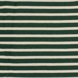 Tissu molleton sweat écru rayé - vert x 10cm