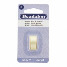 Fil de nylon pour perles Nymo Beadalon crème x58,5m