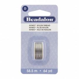 Fil de nylon pour perles Nymo Beadalon gris x58,5m