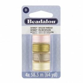 Fil de nylon pour perles Nymo Beadalon teintes de la plage 4x58,5m