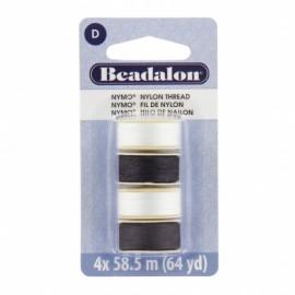 Fil de nylon pour perles Nymo Beadalon Noir/Blanc 4x58,5m