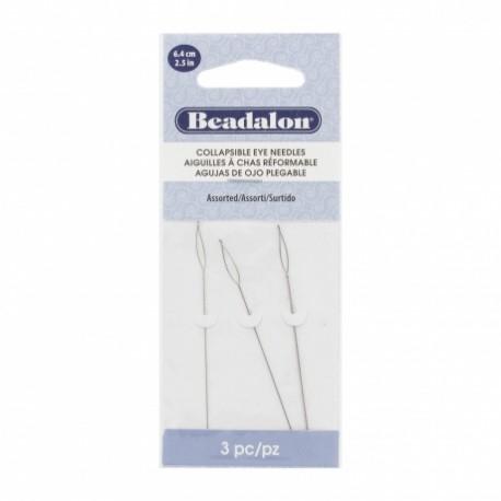 Aiguilles torsadées chas reformable pour perles X3