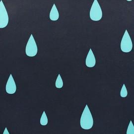Tissu déperlant nano-tex Rain Drop - marine/turquoise x 10cm