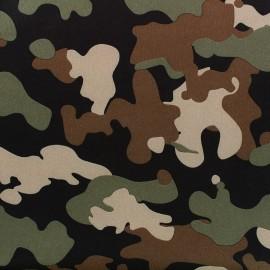 Tissu Softshell Camouflage - vert/orange fluo x 10cm