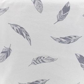 Tissu Jersey Jolie plume - gris x 10 cm
