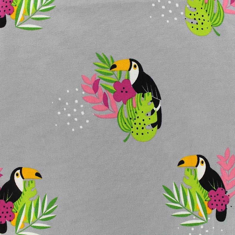Tissu Jersey Toucan Flower - gris x 10 cm - Ma Petite Mercerie e87717f4ade