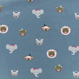 Jersey Fabric Cute animals - bleu x 10 cm