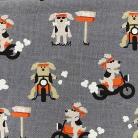 Tissu Jersey Dog biker - gris x 30 cm