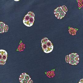 Tissu Jersey Funny skulls - navy x 10 cm