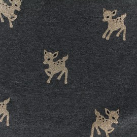 Jersey Fabric Bambi glitter - anthracite/gold x 30 cm