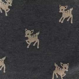 Tissu Jersey Bambi glitter - anthracite/doré x 30 cm