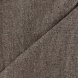 Chambray linen fabric - light brown x 10cm
