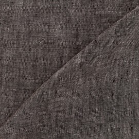 Chambray linen fabric - dark taupe x 10cm